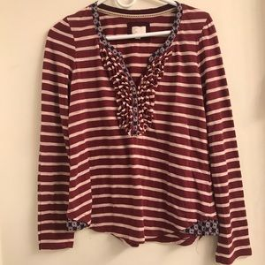 ANTHROPOLOGIE LONG SLEEVE RED STRIPED BUTTONED TOP